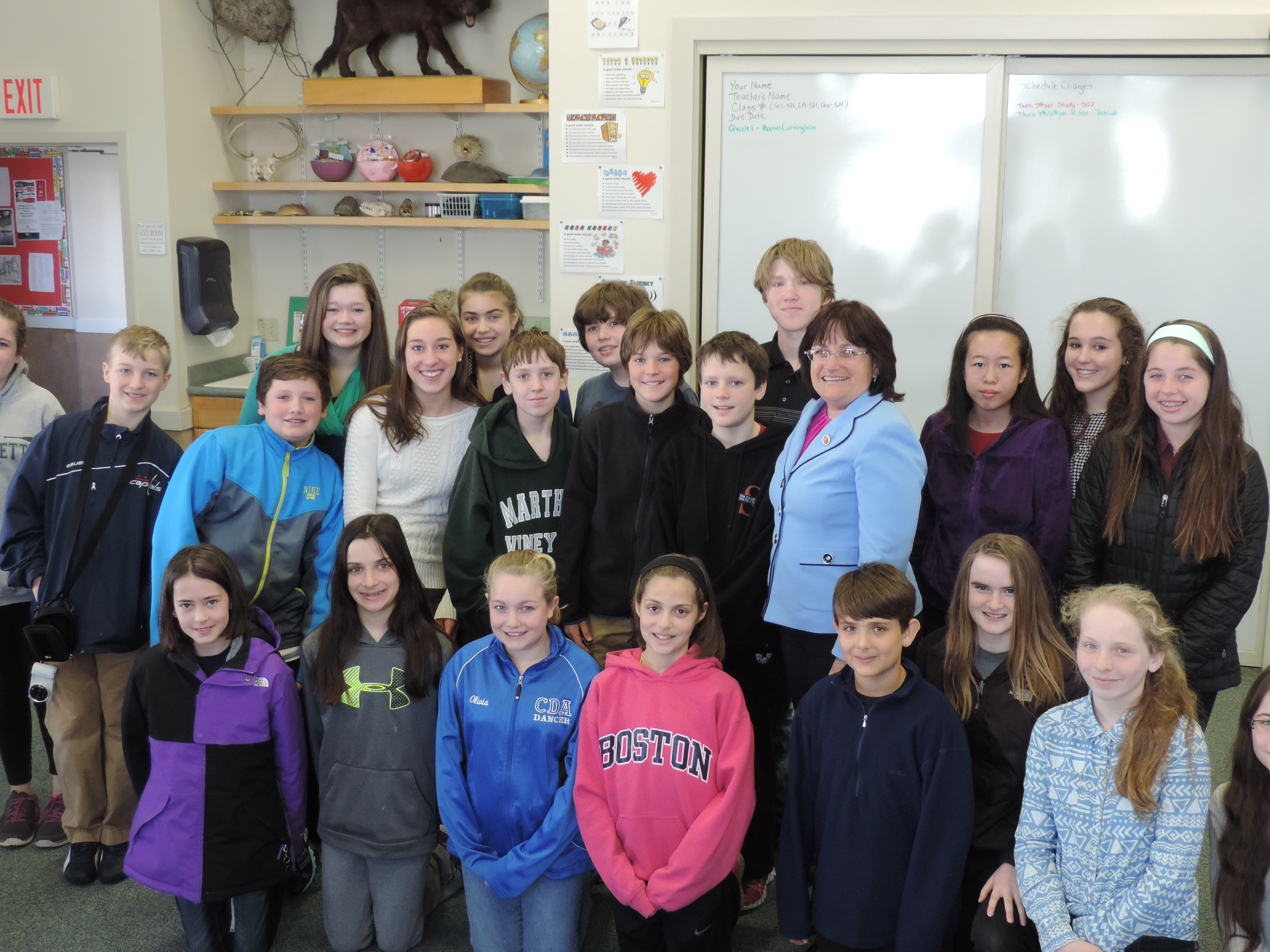 Wednesday, April 16, 2014 | Congresswoman Kuster visits with Shaker Road Students