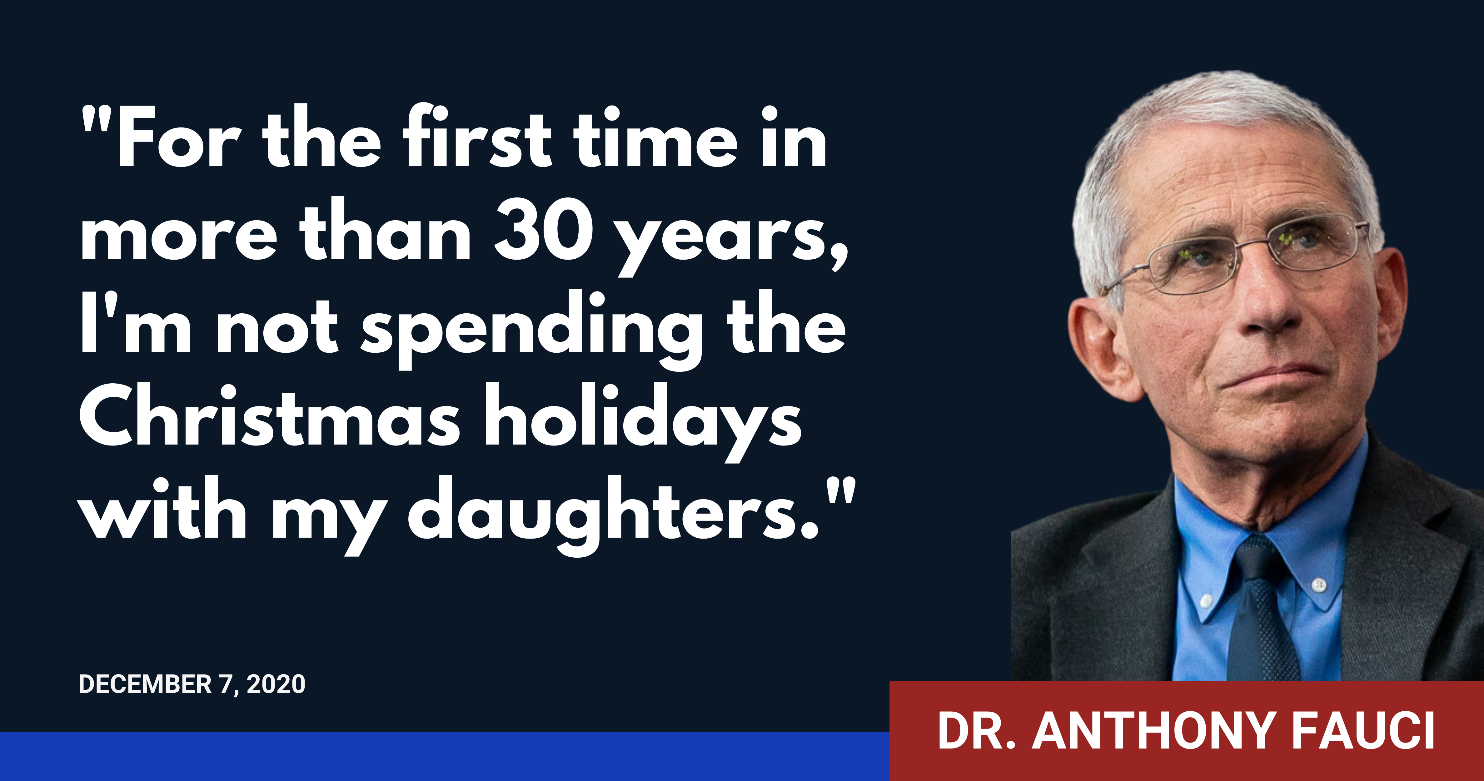 Dr. Anthony Fauci has changed his holiday plans due to COVID-19.